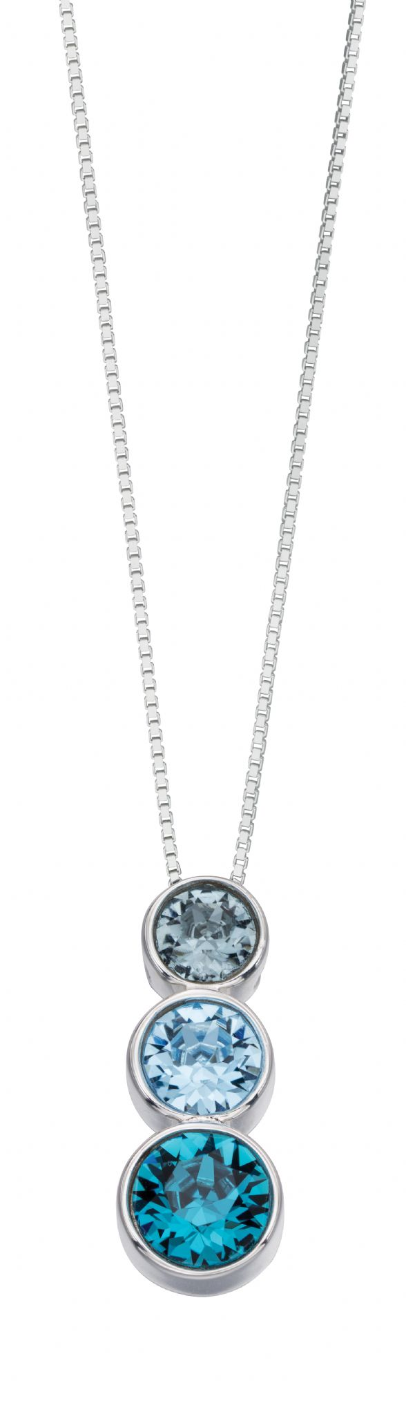 Beginnings Silver Triple Blue Crystal Pendant P4277 & Beginnings Silver Triple Blue Crystal Necklace P4277  | Wearitboutique