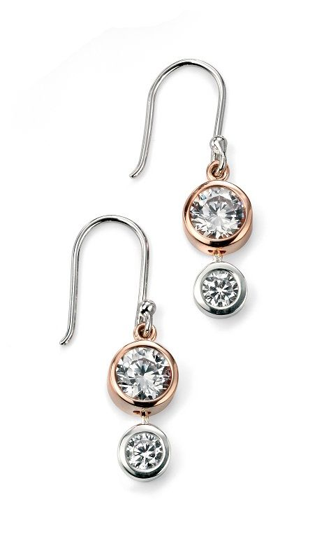 821fc0bf2201f Elements Cubic Zirconia Rose Gold Plated Drop Earrings