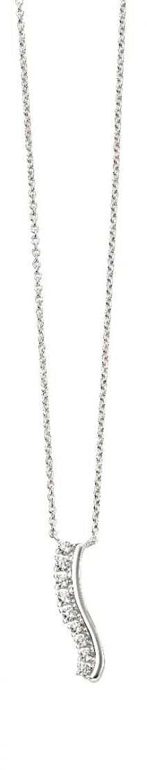 Elements Silver Cubic Zirconia Wavy Bar Necklace N4329C