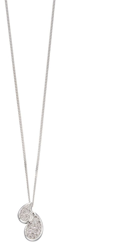 Elements Silver Double Pave Teardrop Pendant P4540C