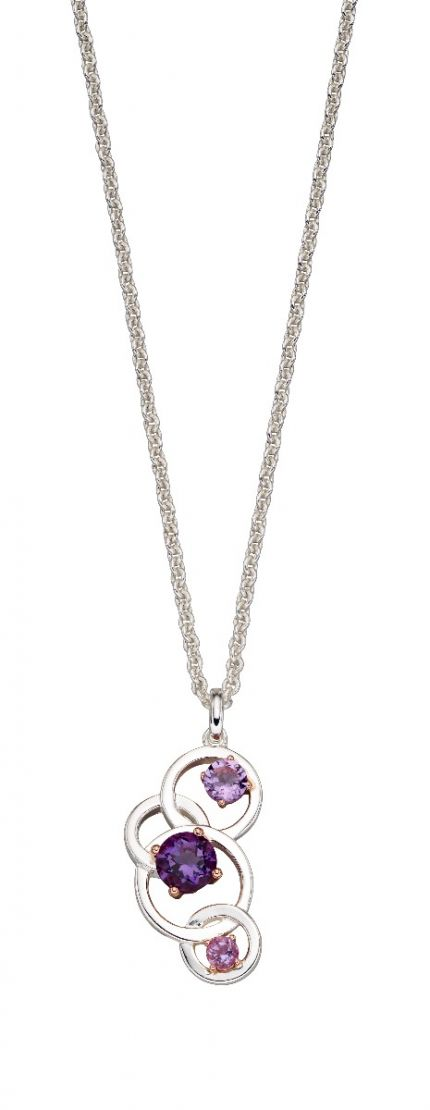 Elements Silver Round Purple Amethyst Pendant P4845M