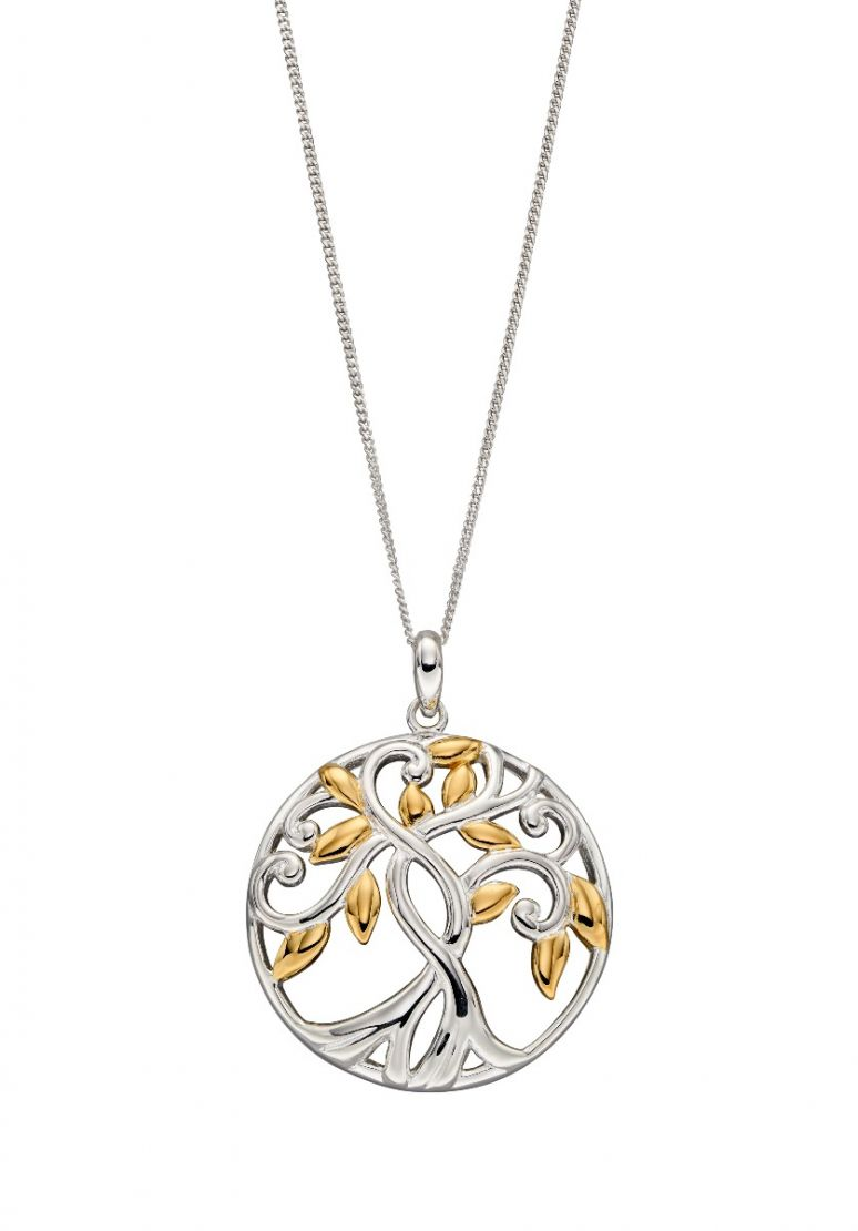 Elements Silver Tree of Life Gold Plate Pendant P4832 & Elements Silver Tree of Life Pendant P4832  | Wearitboutique