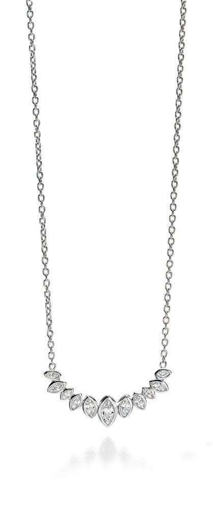 Fiorelli Silver Clear CZ Marquise Cluster Row Necklace N3906C
