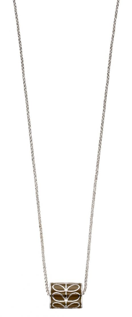Orla Kiely Silver Plated and Green Stem Cylinder Necklace N4305