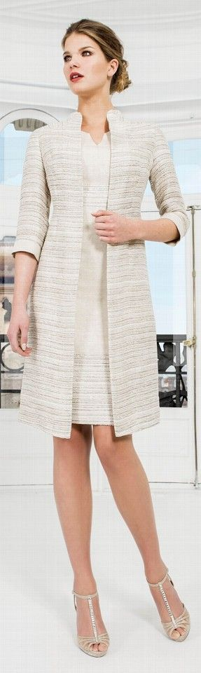 Sonia Pena Gold and Cream Coat Suit